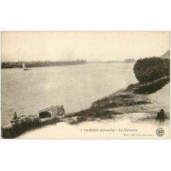 carte postale ancienne 33 CAMBES. La Garonne 1924