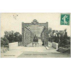 carte postale ancienne 33 CASTILLON. Attelage Entrée du Nouveau Pont
