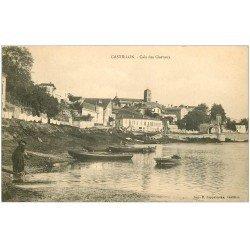 carte postale ancienne 33 CASTILLON. Laveuse près Cale aux Chevaux. Ed. Zappatereau