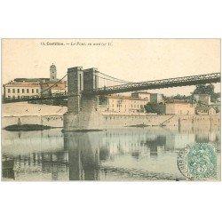 carte postale ancienne 33 CASTILLON. Le Pont 1905 en couleur