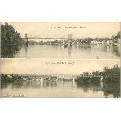 carte postale ancienne 33 CASTILLON. Les Deux Ponts ancien et Tranchard. Carte stéréoscopique
