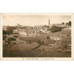 carte postale ancienne 33 SAINT-EMILION. Vue générale 1944 BR 22