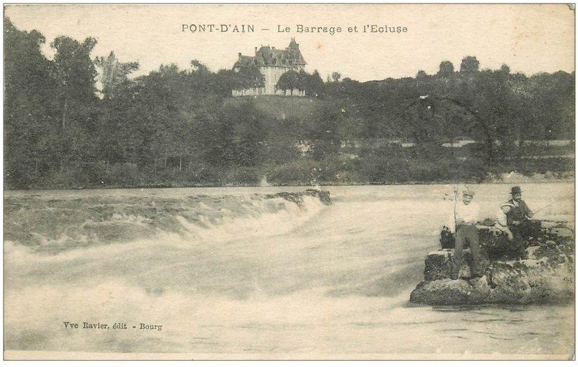 carte postale ancienne 01 PONT-D'AIN. Pêcheurs près Barrage et Ecluse 1921