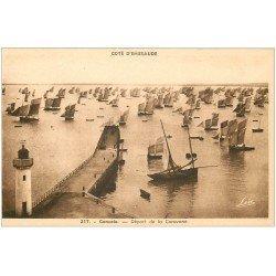 carte postale ancienne 35 CANCALE. Départ Caravane Bâteaux de Pêche 217