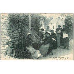 carte postale ancienne 35 CANCALE. Filet de Pêche et Tricot