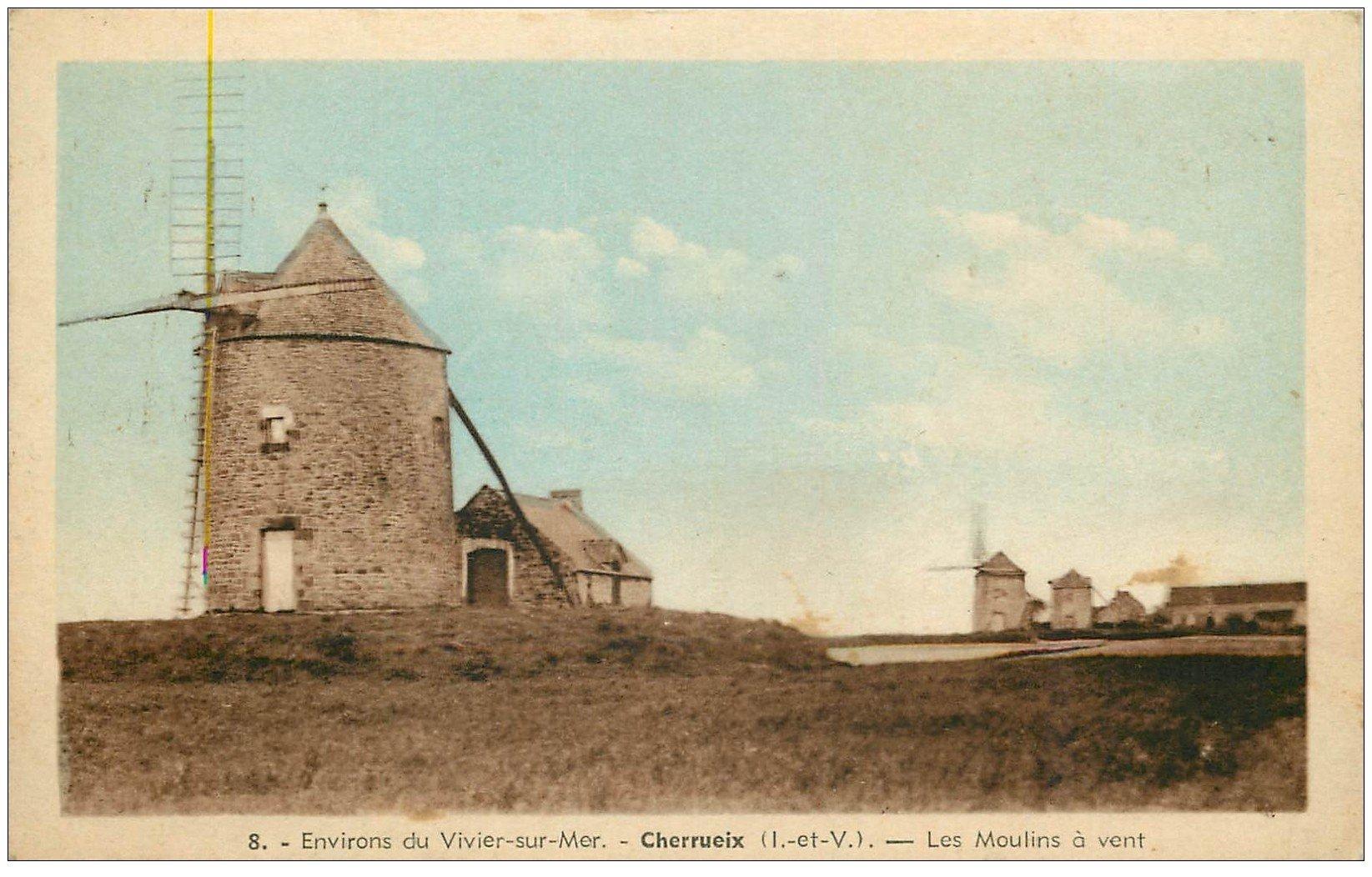carte postale ancienne 35 CHERRUIX. Moulins à vent