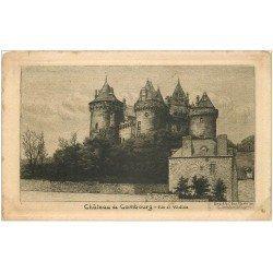 carte postale ancienne 35 COMBOURG. Château papier velin bords découpe à la ficelle
