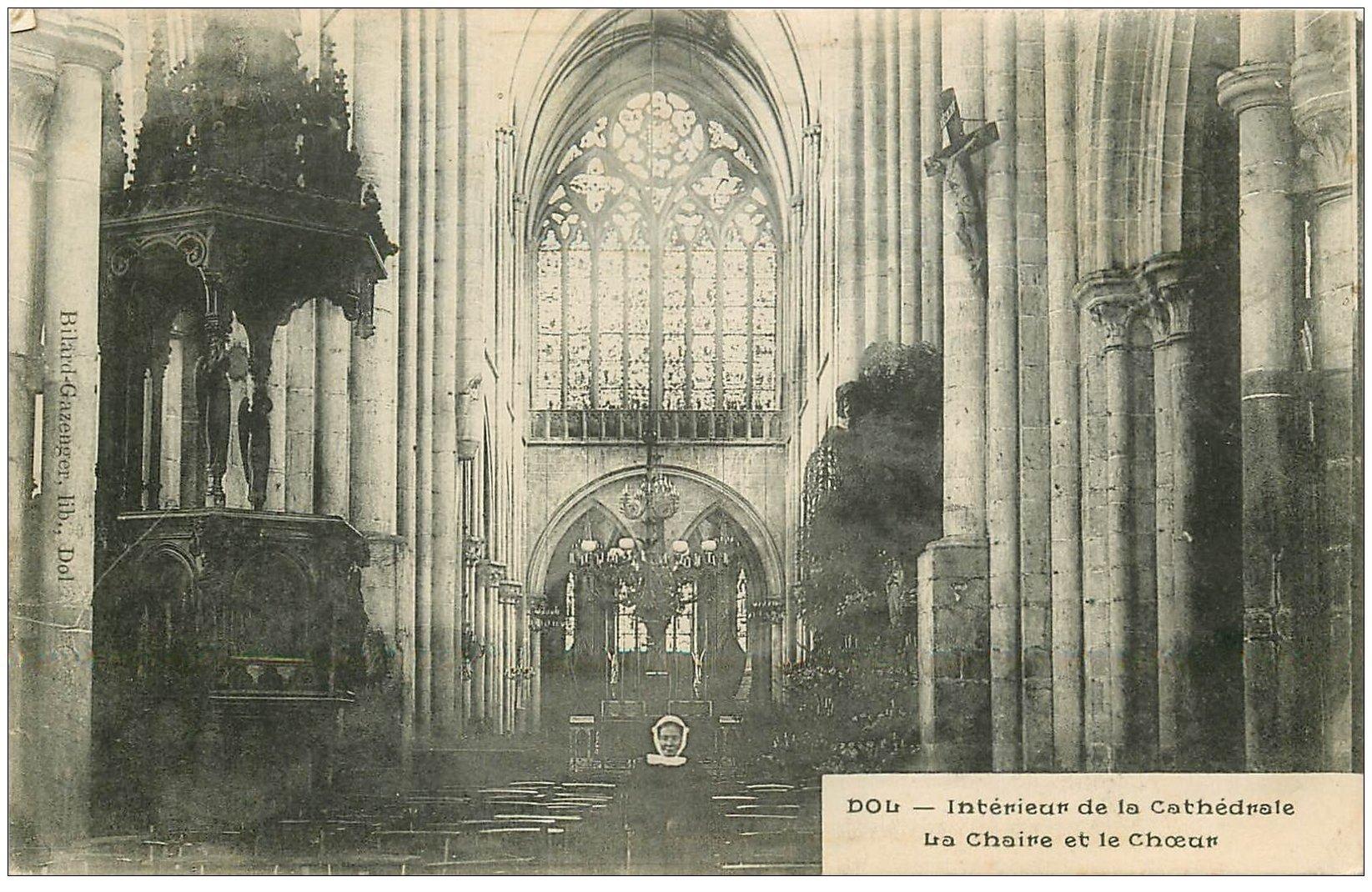 carte postale ancienne 35 DOL. Cathédrale Chaire et Choeur