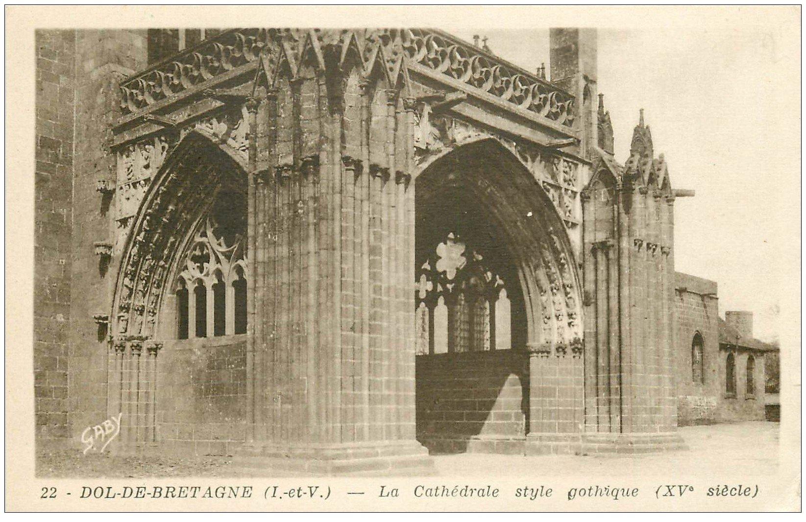 carte postale ancienne 35 DOL. Cathédrale n°22