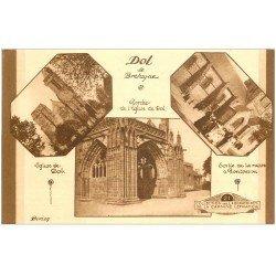 carte postale ancienne 35 DOL. Sortie Messe