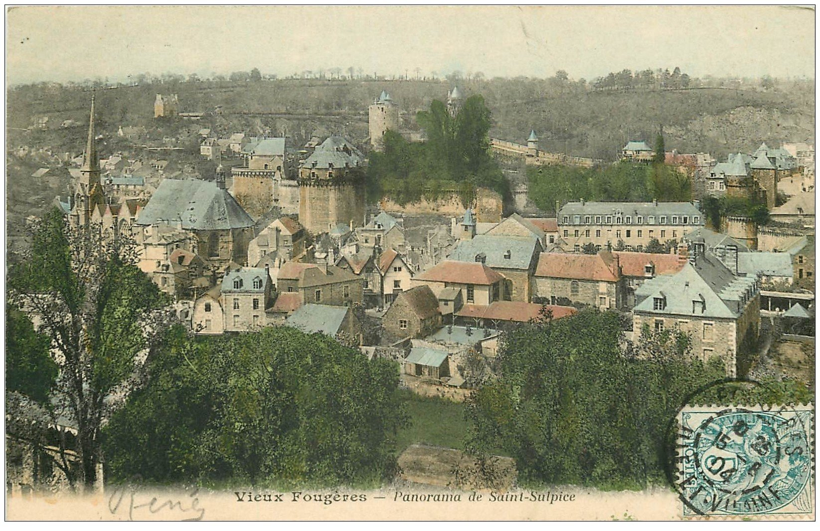 carte postale ancienne 35 FOUGERES. Panorama 1904