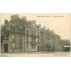 carte postale ancienne 35 REDON. Place de la Gare avec Octroi