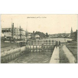 carte postale ancienne 35 REDON. Port et Ecluse 1919
