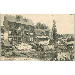 carte postale ancienne 35 RENNES. Château Bralant Lavandières. Tampon Militaire 1915