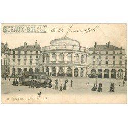 carte postale ancienne 35 RENNES. Le Théâtre 1906