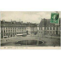 carte postale ancienne 35 RENNES. Place Palais 1913