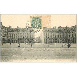 carte postale ancienne 35 RENNES. Place Palais rue Bourbon 1907