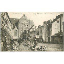 carte postale ancienne 35 RENNES. Place Saint-Germain Vendeuses légumes