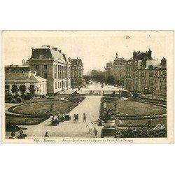 carte postale ancienne 35 RENNES. Square Avenue Janvier 1952