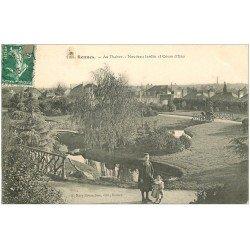 carte postale ancienne 35 RENNES.Thabor Jardin Cours d'Eau 1908
