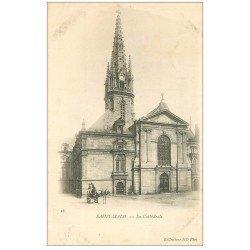 carte postale ancienne 35 SAINT-MALO. Cathédrale vers 1900