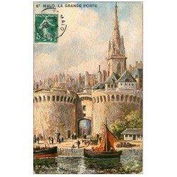 carte postale ancienne 35 SAINT-MALO. Grande Porte 1909