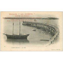 carte postale ancienne 35 SAINT-MALO. Le Môle vers 1900. Publicité La Comète. Conserves Homards