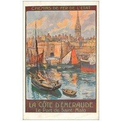 carte postale ancienne 35 SAINT-MALO. Le Port. Chemins de Fer de l'Etat par Toussaint