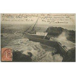 carte postale ancienne 35 SAINT-MALO. Naufrage du Hilda 1906 (défaut)
