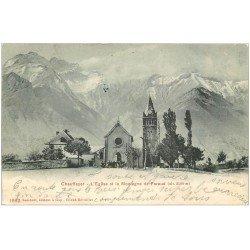 carte postale ancienne 05 CHAUFFAYER. Sortie d'Eglise et Montagne de Faraud 1904
