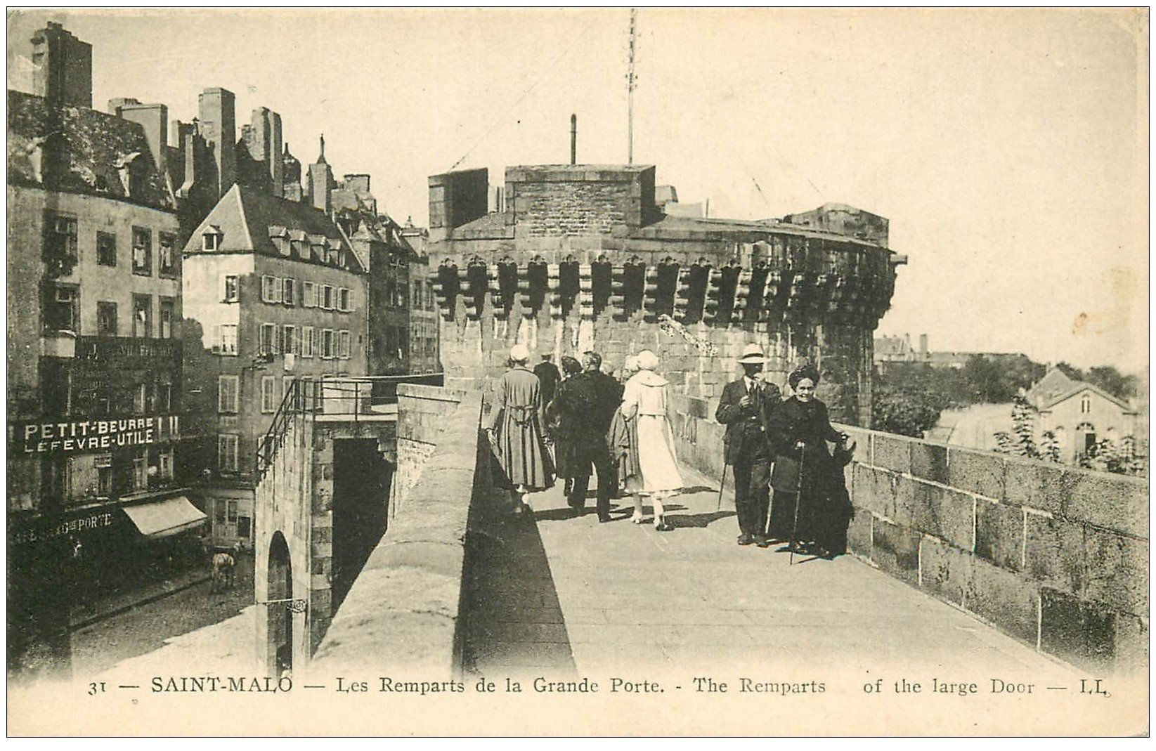 carte postale ancienne 35 SAINT-MALO. Remparts Grande Porte