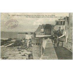 carte postale ancienne 35 SAINT-MALO. Remparts Tour Notre-Dame 1921