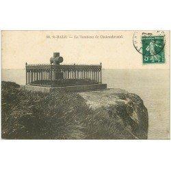 carte postale ancienne 35 SAINT-MALO. Tombeau Chateaubriand 1912