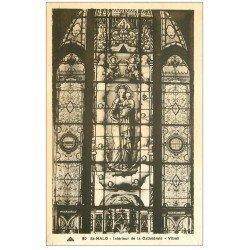 carte postale ancienne 35 SAINT-MALO. Vitrail Cathédrale