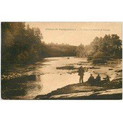 carte postale ancienne 36 ABBAYE DE FONTGOMBAUD. La Creuse au Barrage 1928