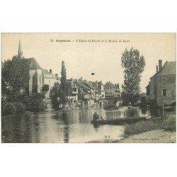 carte postale ancienne 36 ARGENTON. Eglise et Moulin de Bord