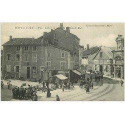 carte postale ancienne 01 PONT-DE-VAUX. Place Joubert et Grande Rue. Café Comptoir Parisien