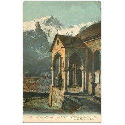carte postale ancienne 05 LA GRAVE. Eglise des Terrasses et la Meije
