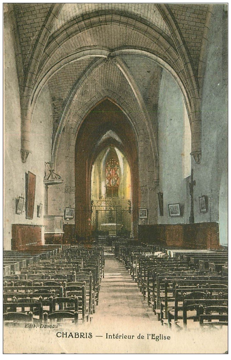 carte postale ancienne 36 CHABRIS. Eglise. Nef 1924