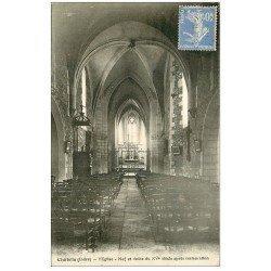 carte postale ancienne 36 CHABRIS. Eglise. Nef 1932
