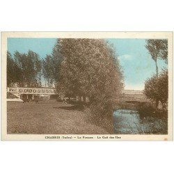 carte postale ancienne 36 CHABRIS. Fouzon Gué des Iles vaches 1937