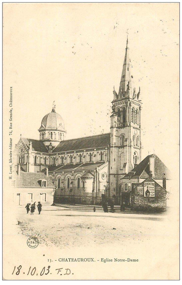carte postale ancienne 36 CHATEAUROUX. Eglise Notre-Dame 1903