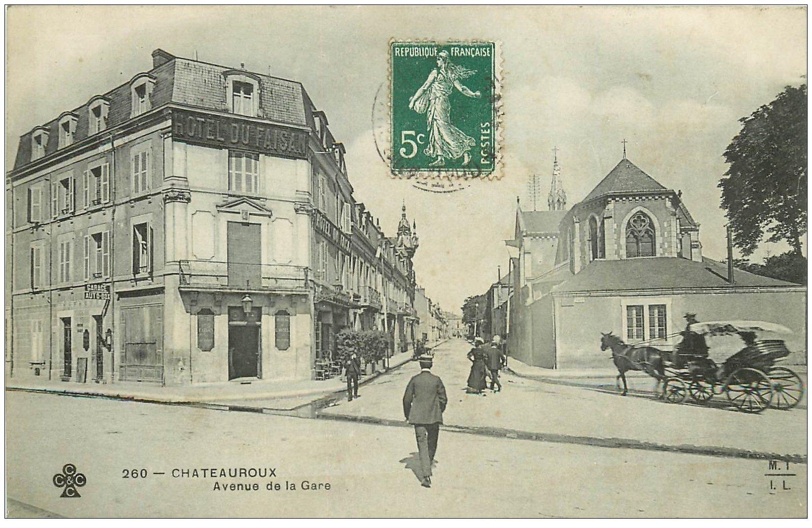 carte postale ancienne 36 CHATEAUROUX. Hôtel Faisan Avenue Gare 1909