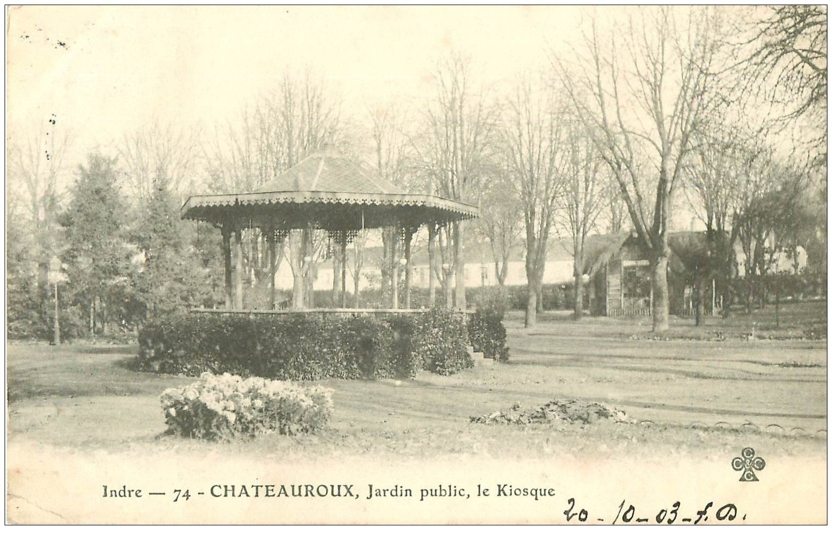 carte postale ancienne 36 CHATEAUROUX. Jardin Public 1903 Kiosque