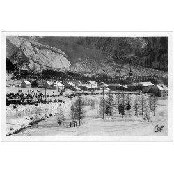 carte postale ancienne 05 L'ARGENTIERE. Sous la neige. Carte Photo émaillographie