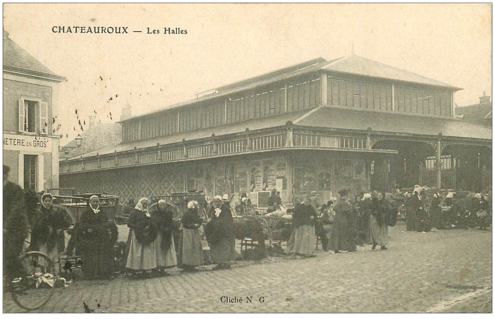 carte postale ancienne 36 CHATEAUROUX. Les Halles vers 1908