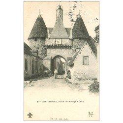carte postale ancienne 36 CHATEAUROUX. Porte Horloge à Déols 1903