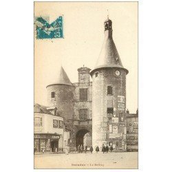 carte postale ancienne 36 ISSOUDUN. Beffroi 1924. Affiche Absinthe