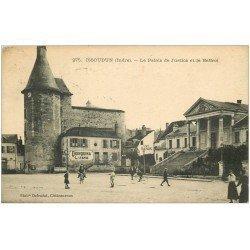 carte postale ancienne 36 ISSOUDUN. Palais de Justice Beffroi 1923 Café Baron. Quinquina