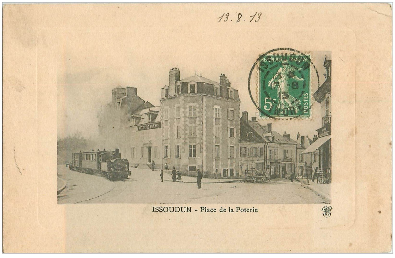 36 issoudun train place de la poterie 1913 h tel de for Carte de france hotel